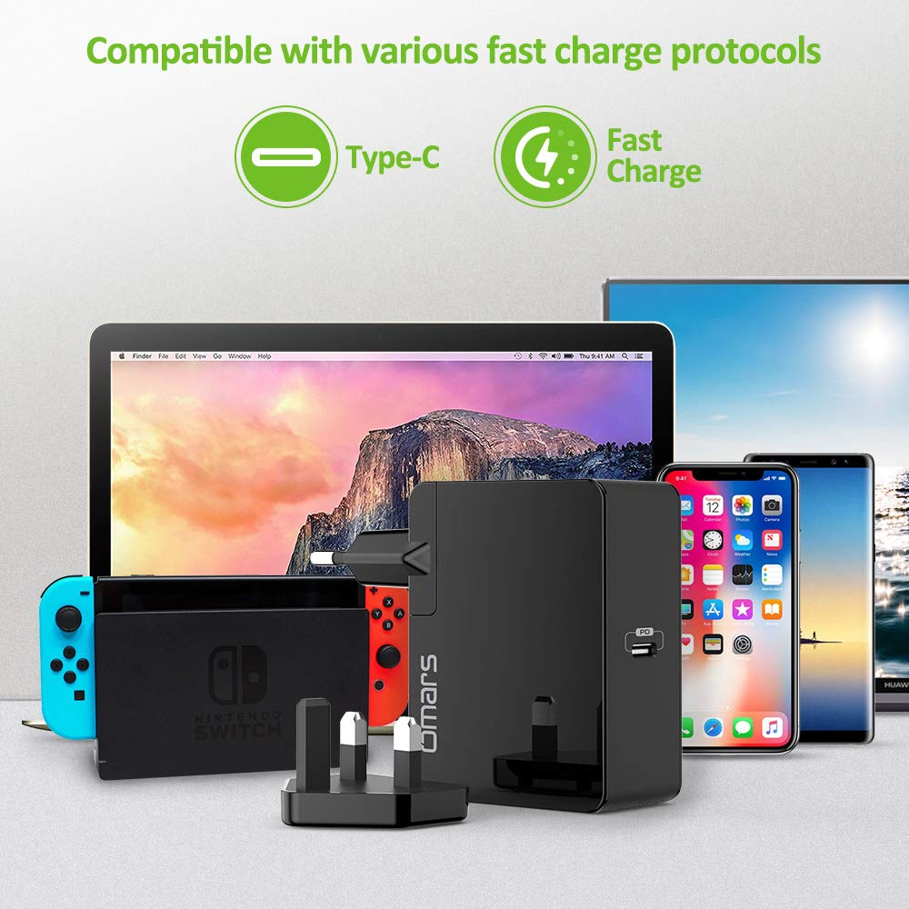 Omars USB C Charger 45W PD Wall Charger Plug, Power Port with Power Delivery for MacBook, MacBook Pro, Chromebook Pixel, Nintendo Switch, Huawei MateBook Pixel, iPhone X / 8 / 8 Plus, and PowerIQ 2.0 for S9 / S9+ / S8 / S8+, Note 8, Galaxy