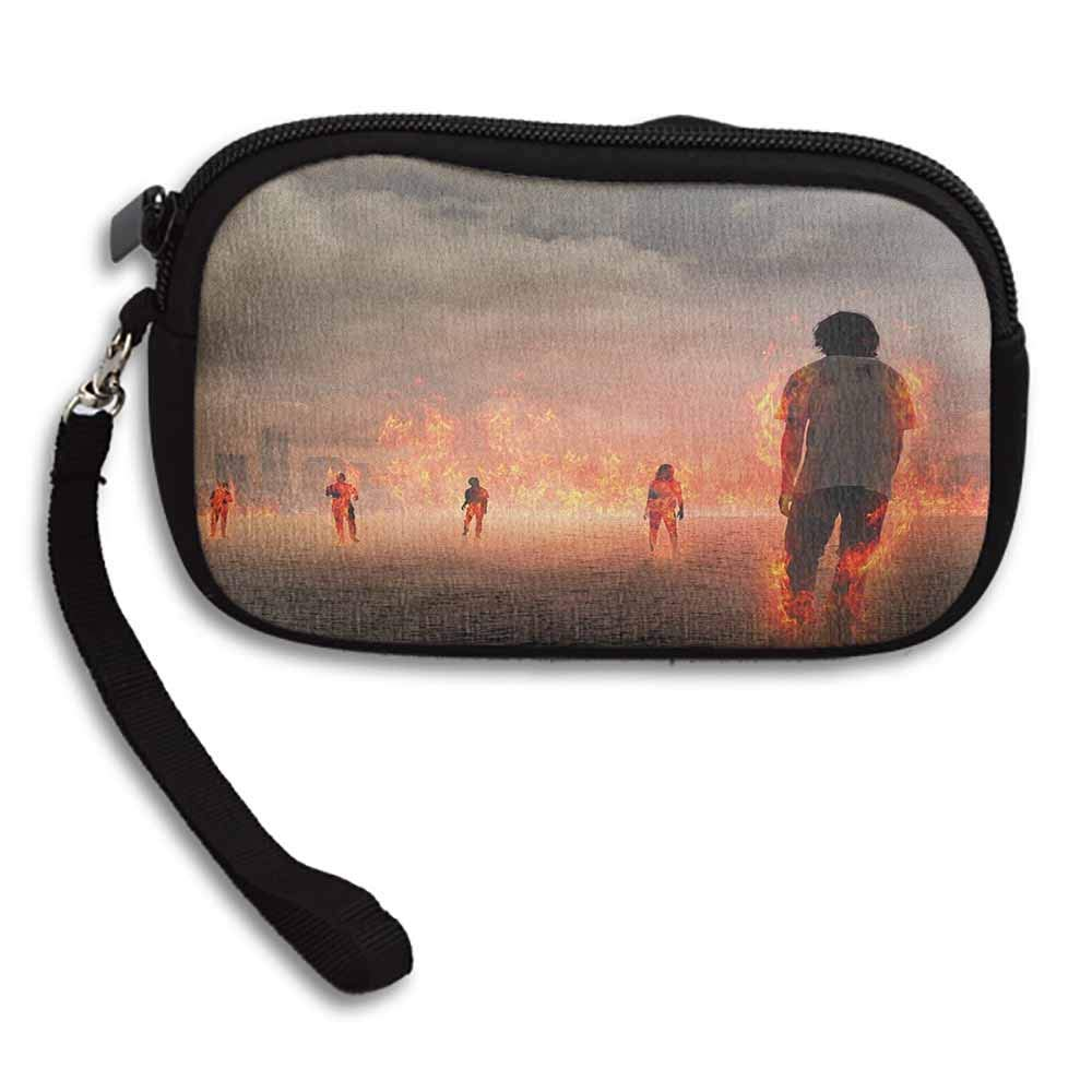 Zombie Grupo de personas en una llama en el agua bajo nubes ...