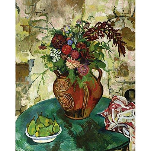 Suzanne Valadon - Nature Morte Aux Fleurs Et Fruits, Size 24x30 inch, Gallery Wrapped Canvas Art Print Wall décor