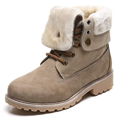 DADAWEN Women's Round Toe Waterproof Outdoor Lace up Work Combat Ankle Bootie Fur Lined Warm Winter Snow Boots | Ankle & Bootie