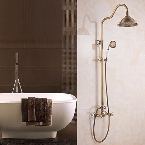 LIUJIANGLONG Juego de ducha de cobre antiguo con base de cerámica, ducha de mano y