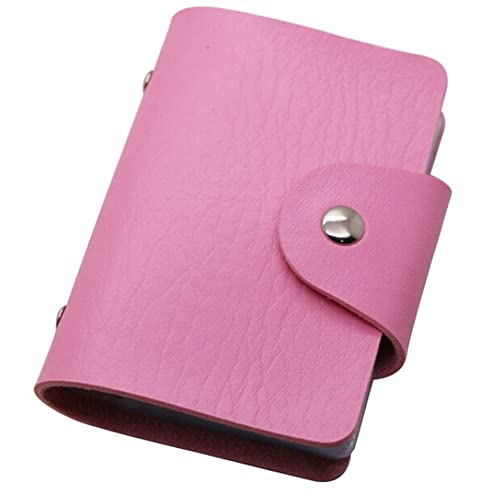 faux leather slim pocket business id credit card holder case wallet 24 cards - Pink Card Holder