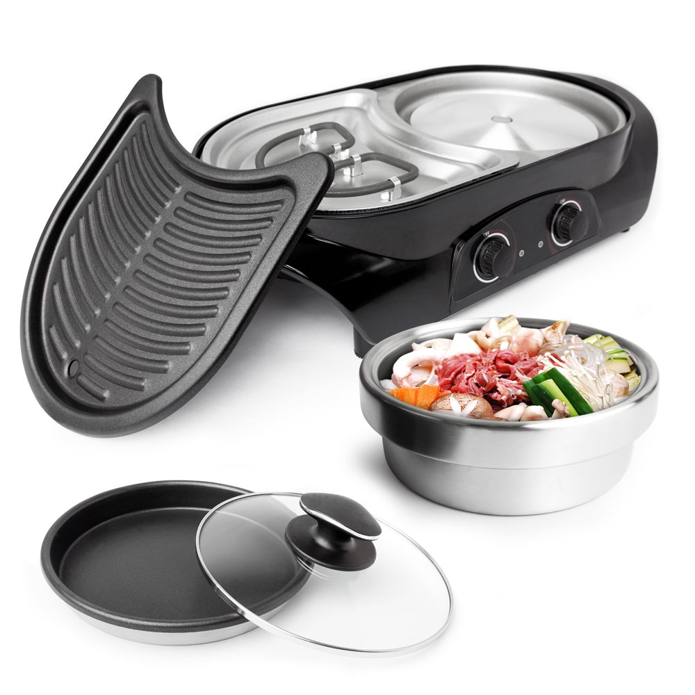GOT HOT POT 3-in1 Electric Indoor Shabu Shabu Hot Pot with Bbq Grill   Interchangeable Stainless Steel Hot Pot Cooker or Frying Pan and a Non Stick Korean Bbq Teppanyaki Grill   Dual Heating Control
