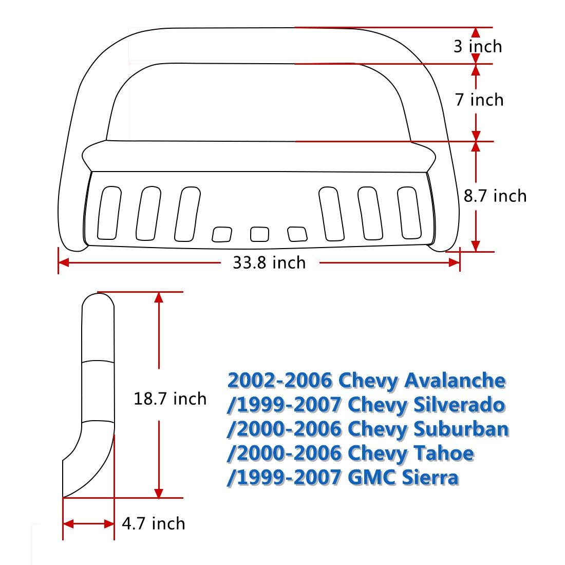 Chrome B07BQSPWP6 Chrome 02-06 Chevy Avalanche 1500 3 Grill Brush Push Guard AUTOSAVER88 Bull Bar Compatible for 99-07 Chevy Silverado 1500 // GMC Sierra 1500 02-06 Chevy Avalanche 1500 3 Grill Brush Push Guard 00-06 Chevy Suburban 1500// Chevy Tahoe