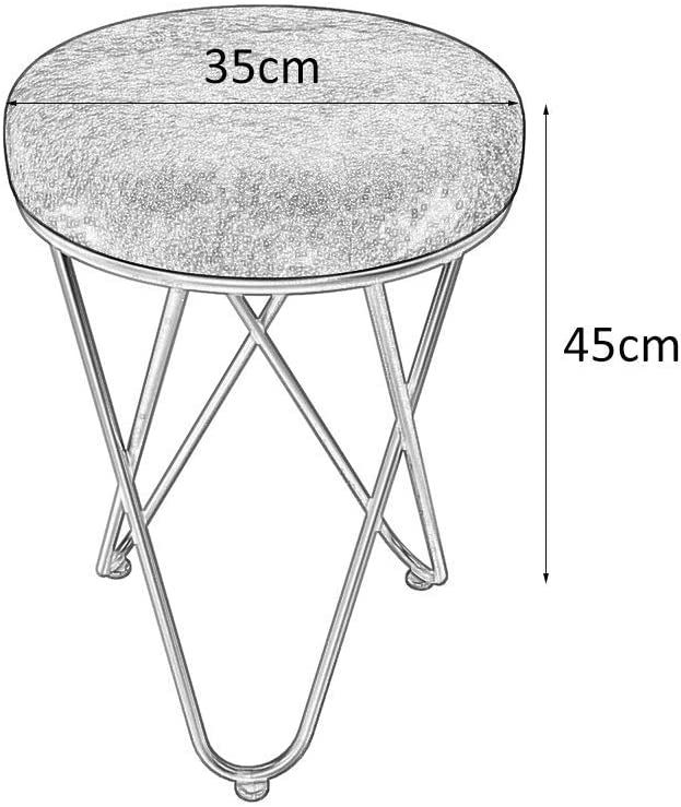XIAOWEI Dressing table stool Nordic fashion vanity makeup stool furniture with flannel sponge pillow for bedroom living room SkyBlue