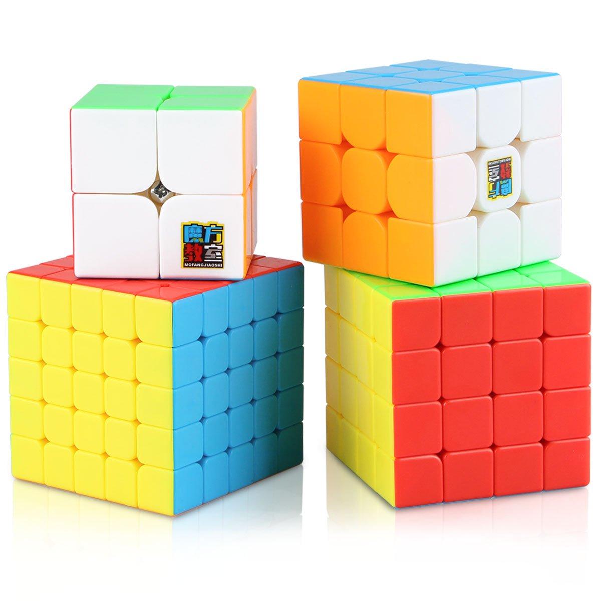 Aitey Speed Cube Set, Moyu Cube Bundle MF2S 2x2 3x3 4x4 5x5 Stickerless  Magic Cube Puzzle Toys for Kids Gift Box (4 Pack)