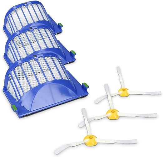 kwmobile Set de 3 cepillos Laterales y 3 filtros de Repuesto compatibles con Roomba - Serie 600 - Recambio de escobilla y Filtro para Robot Aspirador: Amazon.es: Hogar