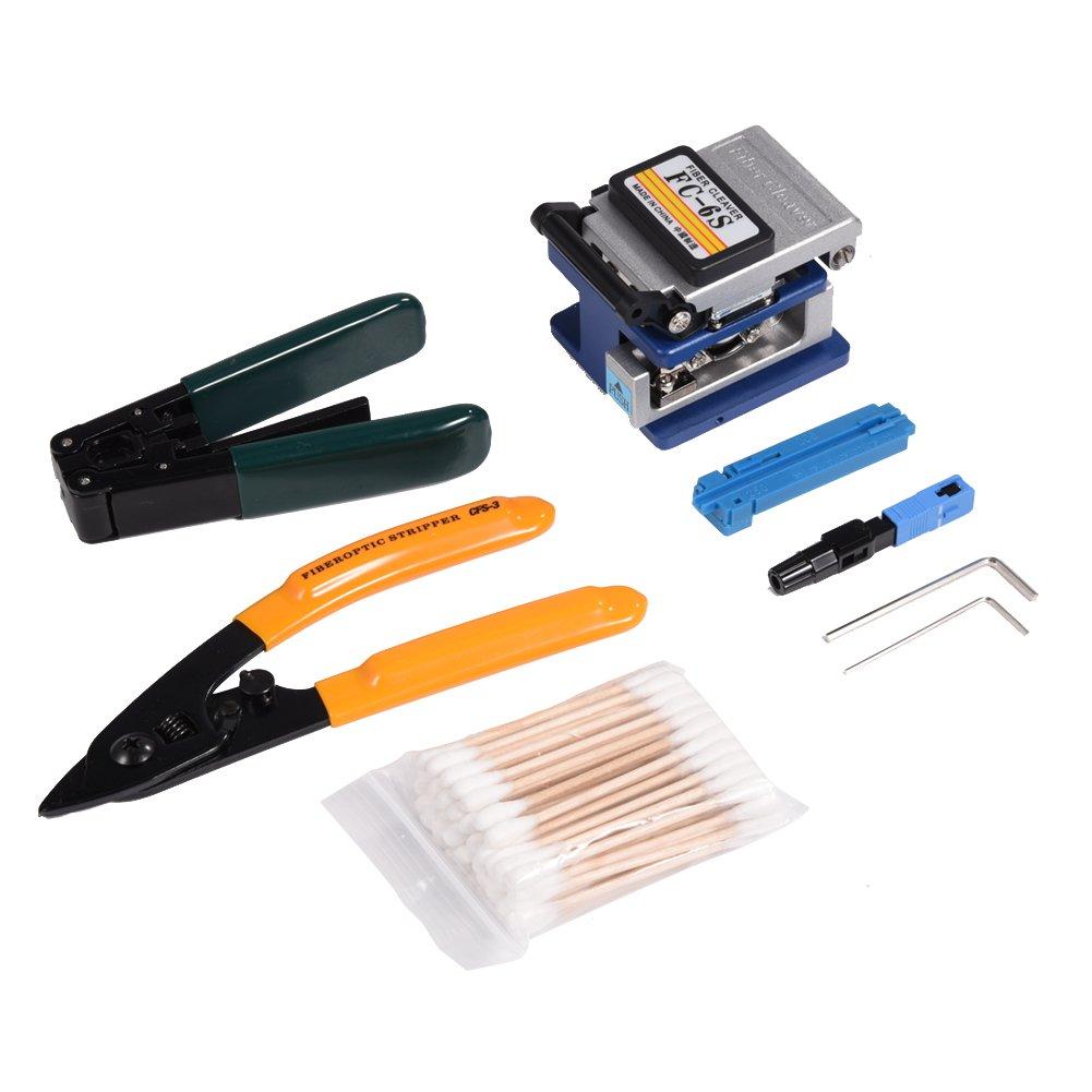 avec D/écapant Fibre Optique CFS-3 Kit Outils FTTH avec Couperet de Fibre FC-6S Outils de D/énudage de Fibres Optiques pour Installation et Maintenance de R/éseau de Fibres Optiques