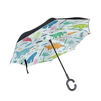 jstel doble capa puede dinosaurios con hojas de palmera paraguas coches Reverse resistente al viento lluvia