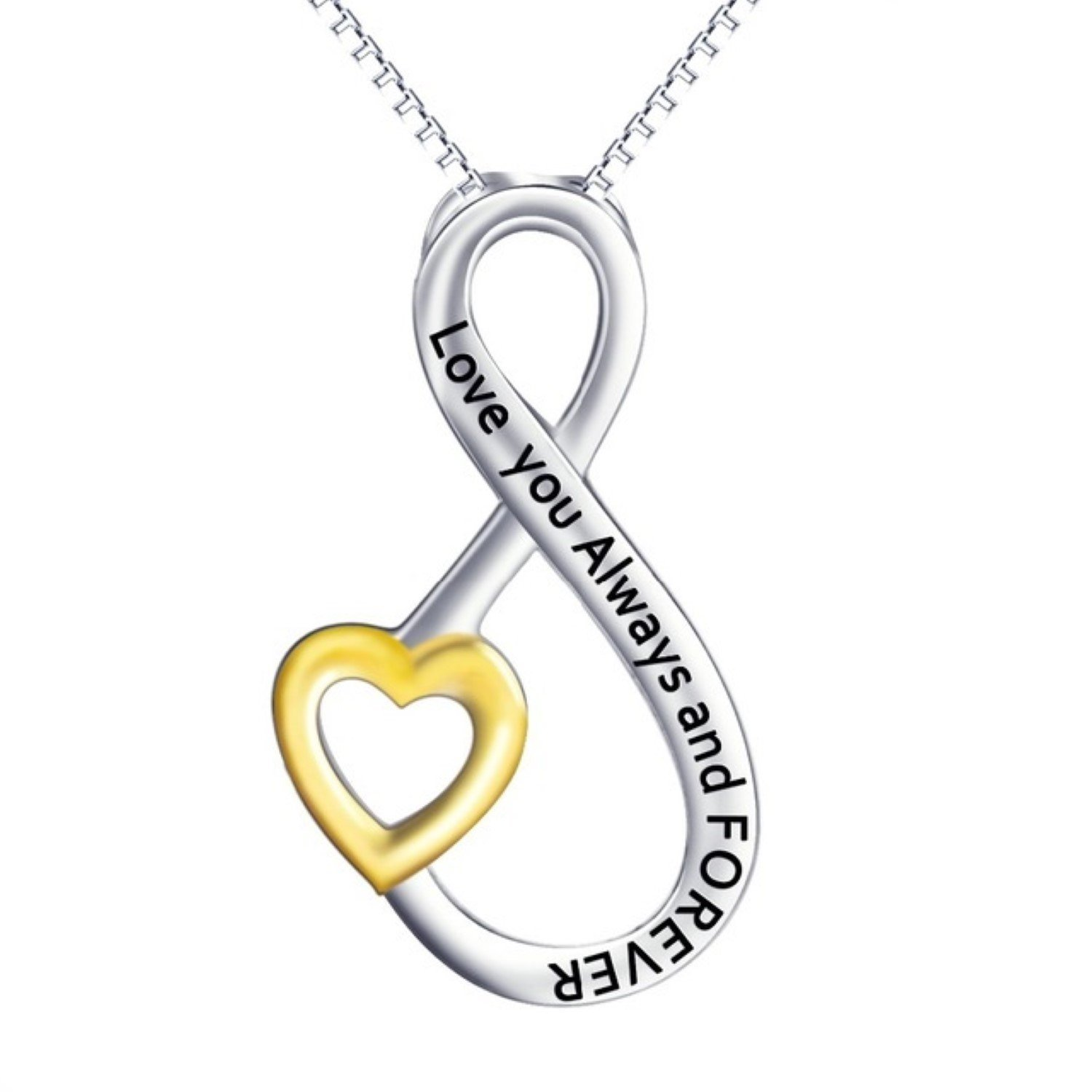 CS-DB Love You Always and Forever Love Infinity Pendants Silver Necklaces