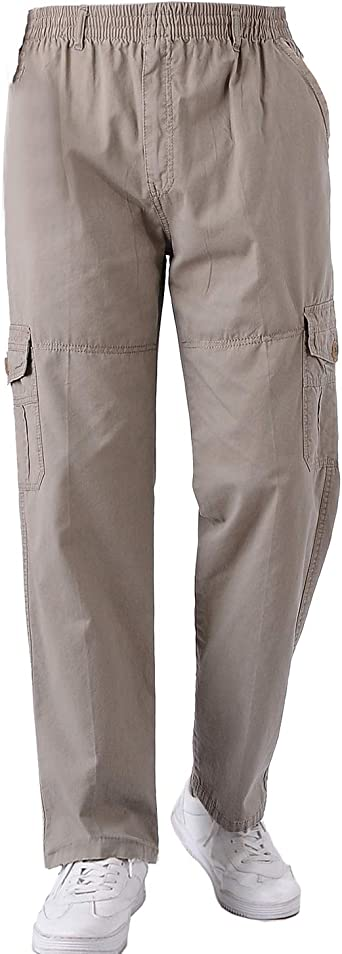 Ktwolen Hombres Pantalones Tipo Cargo De Combate Multi Bolsillos Militar Pantalon De Algodon Disponibles En Negro Caqui Beige Gris Amazon Es Ropa Y Accesorios