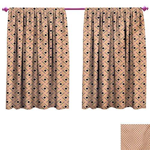 cobeDecor Argyle Patterned Drape for Glass Door Diagonal Stripes and Rhombuses Geometric Composition Pastel Colors Waterproof Window Curtain W55 x L45 Peach Navy Blue Pale ()