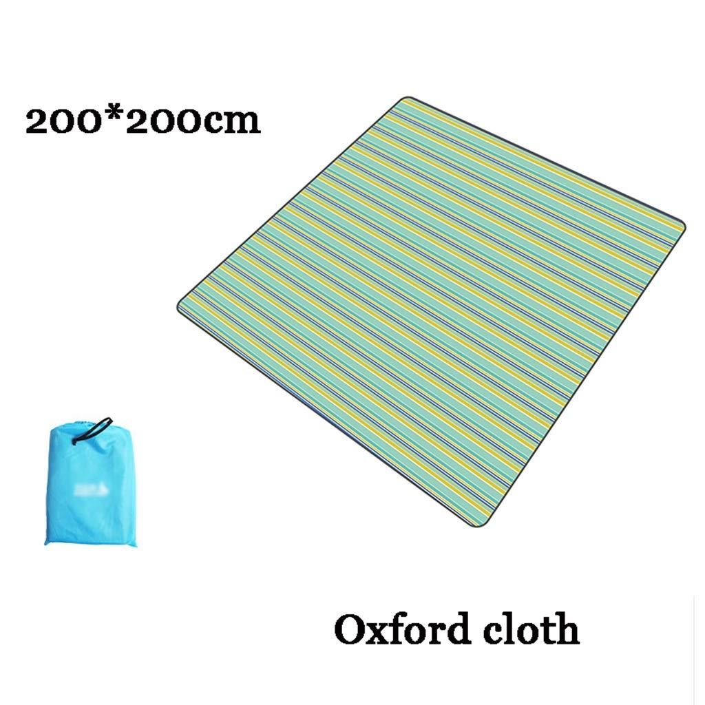 Picknickmatte- Extra Große Picknickdecke Teppich Teppich Teppich Wasserdicht 200 X 200 cm Für Festival Strand Reisen Camping Outdoor, Grün Blau Streifen (Farbe   T) B07PJ99Y91   Neue Produkte im Jahr 2019  fda152