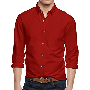 f4c905050e9 Alta Men s Long Sleeve Button Down Cotton Extra Slim Fit Pointed Collar  Dress Shirt - Red