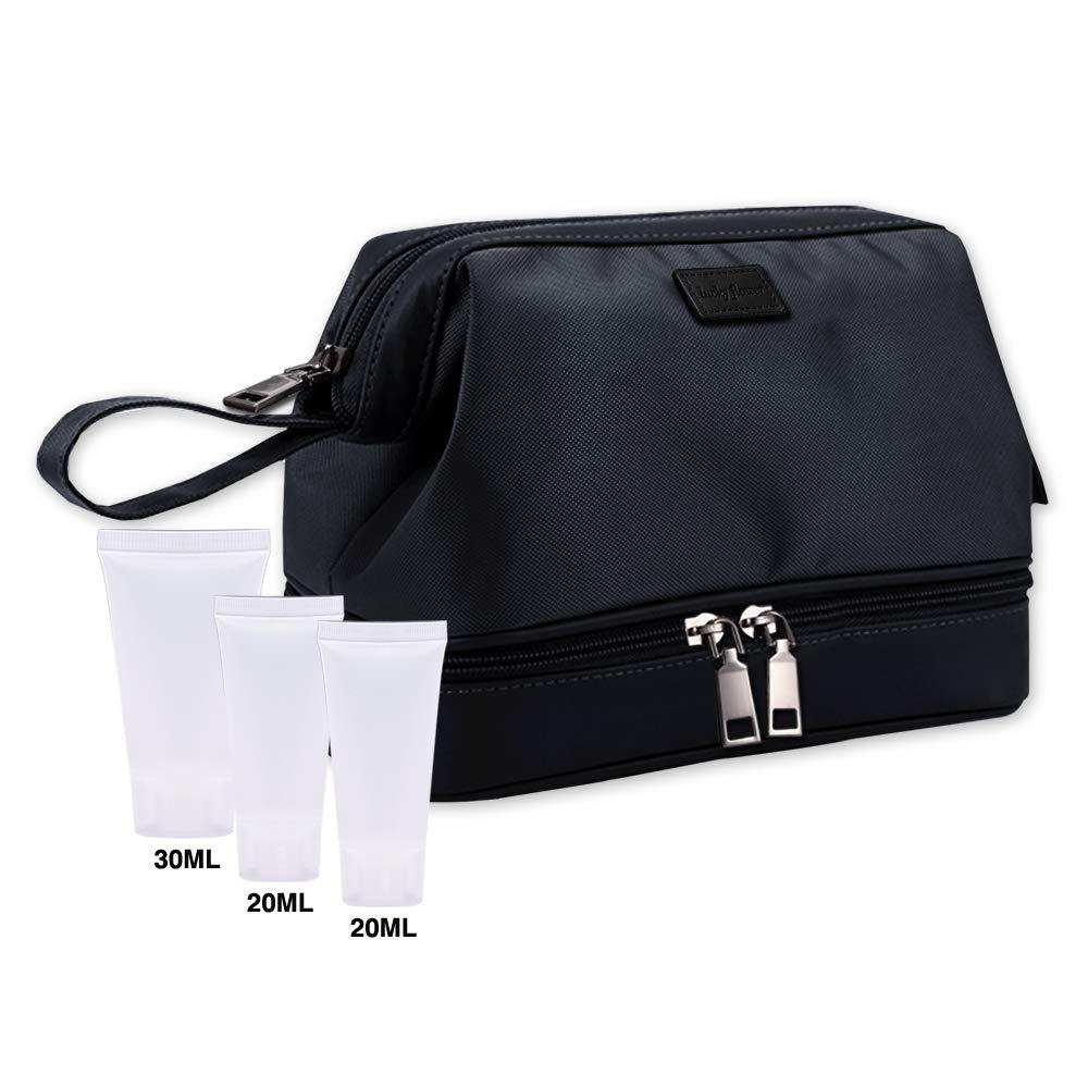LUCKY FLOWER Toiletry Bag with Free Travel Bottles Waterproof Shaving Dopp Kit Black