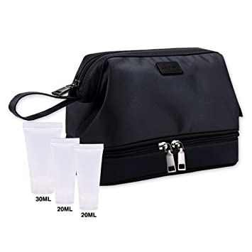 af581c51176 Amazon.com   LUCKY FLOWER Toiletry Bag with Free Travel Bottles Waterproof  Shaving Dopp Kit (Black)   Beauty