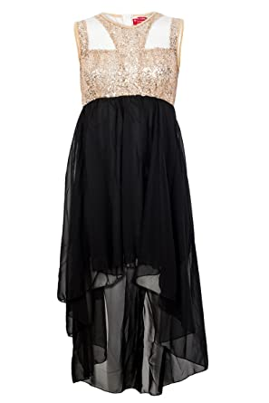 71O Womens Black Gold Sequin Mesh Ladies Chiffon Mullet Party Dress Size 14 91e959388