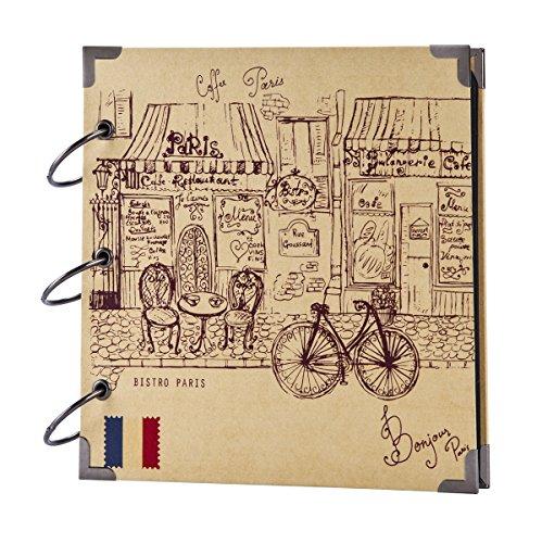 FaCraft Travel Scrapbook,Romantic Paris,Vintage Sketch Cover for Vacation Photo Album 8x8