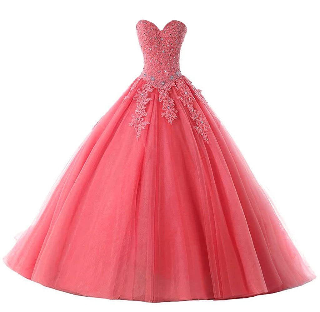 Coral Vantexi Women's Elegant Lace Tulle Prom Ball Gown Quinceanera Dresses