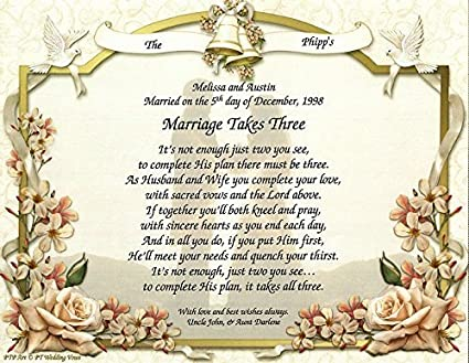 Amazon Com Personalized Poetry Gift Marriage Takes Three On