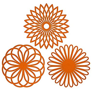 ME.FAN™ Silicone Multi-Use Flower Trivet Mat(set of 3 Pack) Premium Quality Insulated Flexible Durable Non Slip Coasters Cup Orange