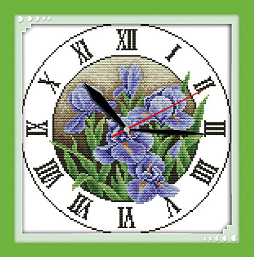 Iris Cross Stitch Pattern (Astitch Stamped Cross Stitch Kits Iris clock face)
