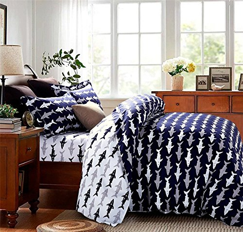 Auvoau Hot Sale!Cartoon Shark Duvet Cover Set White and Blue Bedding Set for Kids Cotton Sheet Sets for Children Twin Queen Size (Queen, 1)