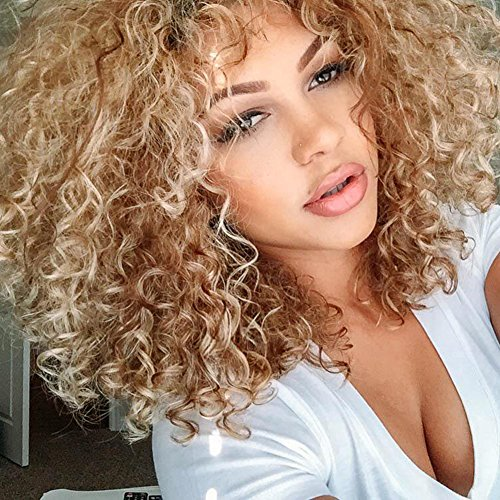 Top Hair Blonde Synthetic Afro Curly Hair Wig For Black Women Short Kinky Hair Jerry Curly Resistance Fiber Blonde Synthetic Wig
