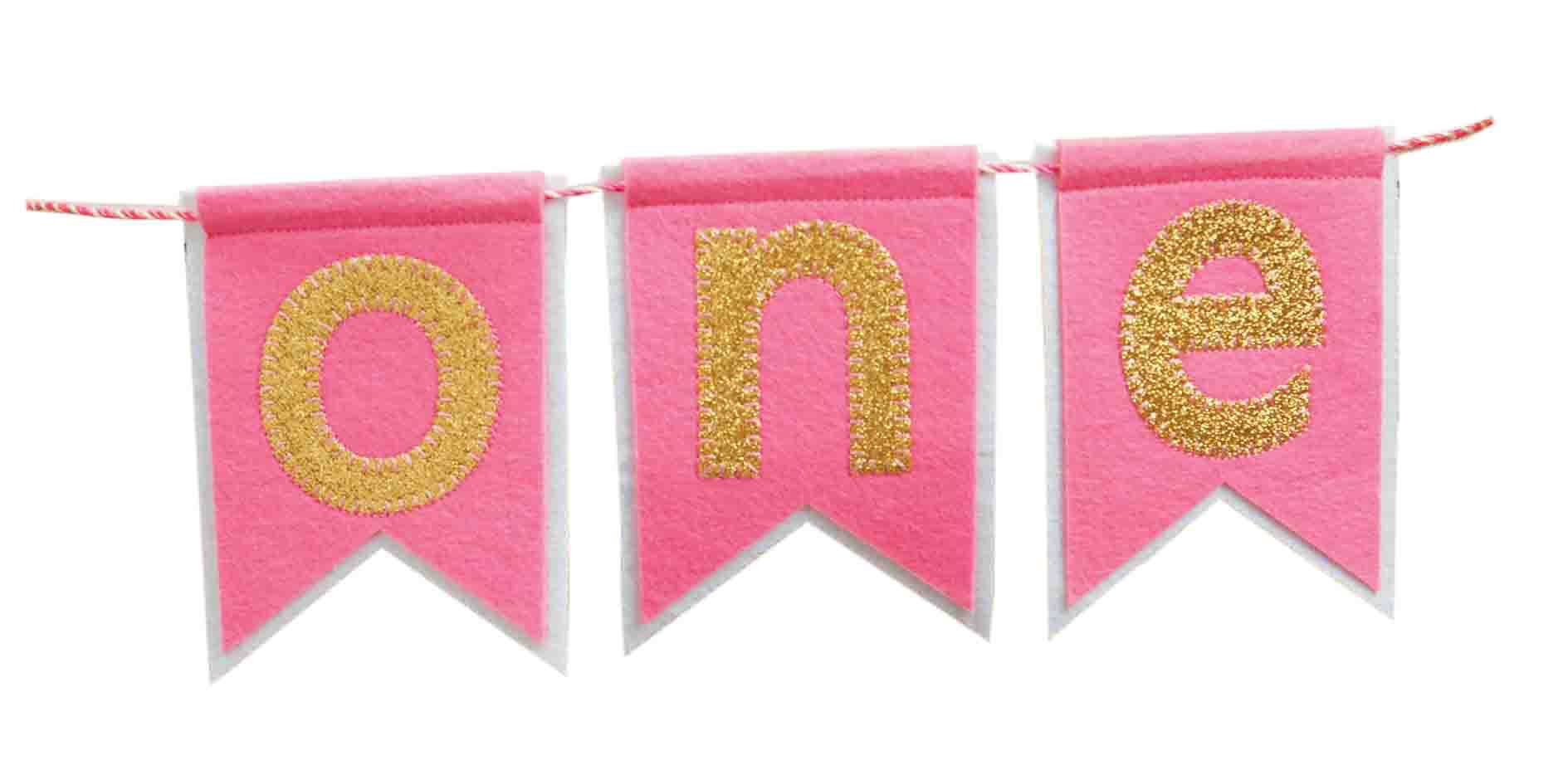 "Mud Pie""ONE"" Pennant Happy Birthday Girl High Chair Glitter Banner Garland Sign Felt"