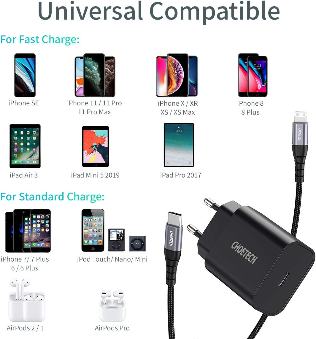 CHOETECH Snelle iPhone Oplader, PD 18 W USB C Oplader met