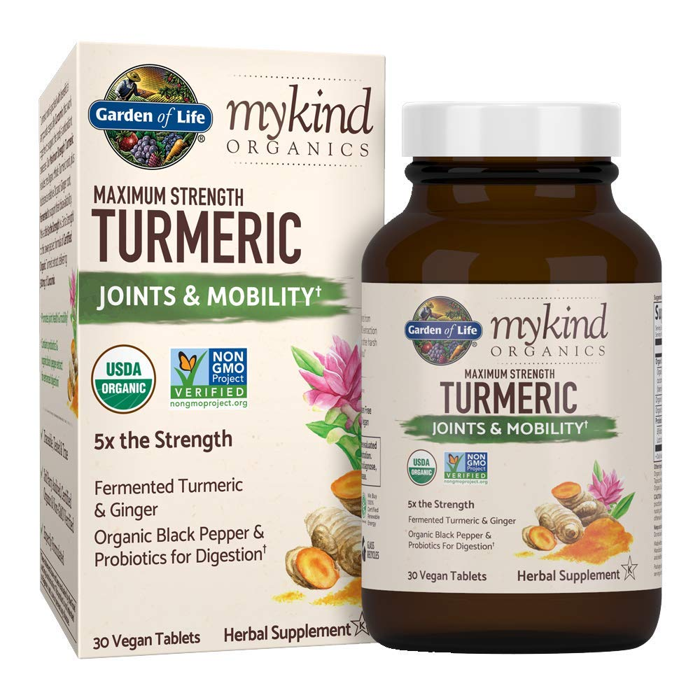 Garden of Life mykind Organics Maximum Strength Turmeric Joints & Mobility Support 30 Tablets - 500mg Curcumin (95% Curcuminoids) Black Pepper - Organic Non-GMO Vegan & Gluten Free Herbal Supplements