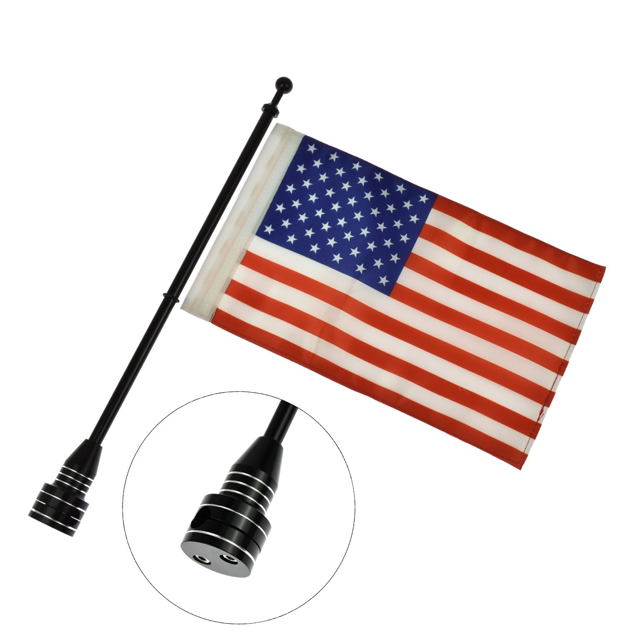 Motorcycle Rear Side Flagpole Mount Adjustable Luggage Rack America Flag for Harley Sportster XL 883 1200 Touring Black by Rebacker (Image #1)