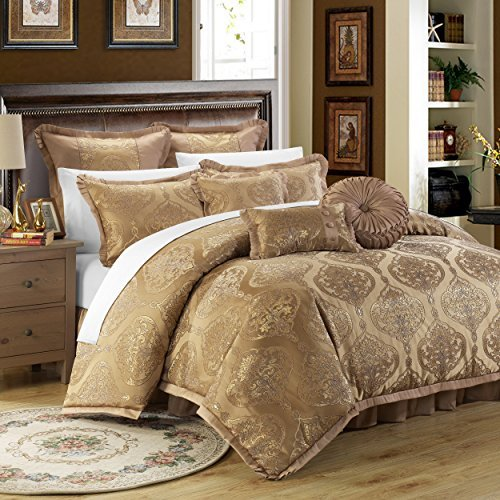 Queen Gold Comforter - Chic Home 9 Piece Como Decorator Upholstery Quality Jacquard Motif Fabric Bedroom Comforter Set & Pillows Ensemble, Queen, Gold