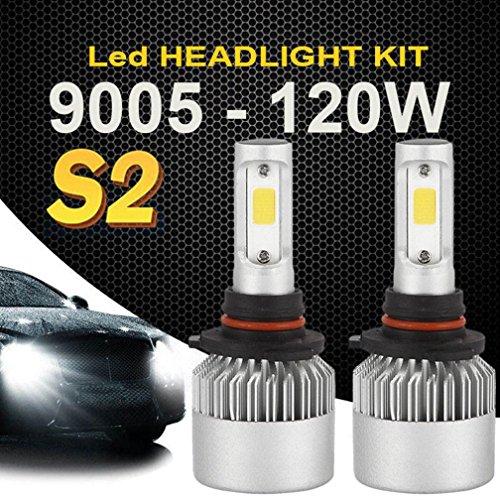 Gotd 120W 9005 HB3 12000LM COB LED Car Headlight Kit White Beam 6000K Bulb 2-Side (Silver)