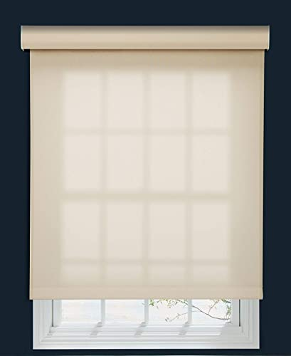 Decor Avenue Custom Cordless 5 Solar Screen Roller Shade Muslin 65 1 2 W x 42 to 54 H Inside Mount