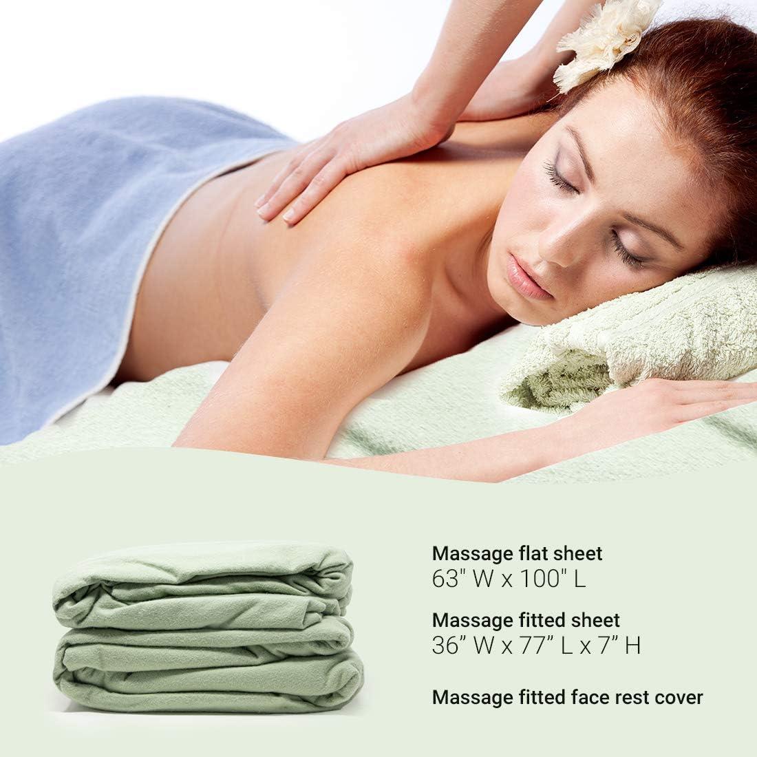 ForPro Premium Flannel 3-Piece Massage Sheet Set, Sage, for Massage Tables, Includes Massage Flat Sheet, Massage Fitted Sheet, and Massage Fitted Face Rest Cover : Massage Linens : Health & Personal Care