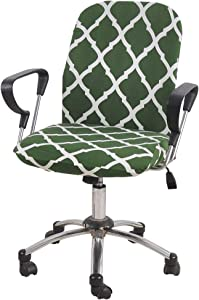 FORCHEER Office Chair Cover Set Stretchable 2 PCS for Computer Armrest Chair Slipcover Removable Washable Green Geometric