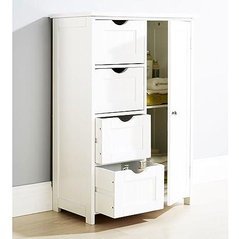 Armadietto in legno bianco, con 4 cassetti, per il bagno o la camera ...