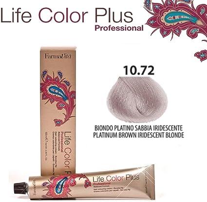 FarmaVita Life Color Plus, Tinte 10.72 Rubio Platino Marron Irid - 60 ml