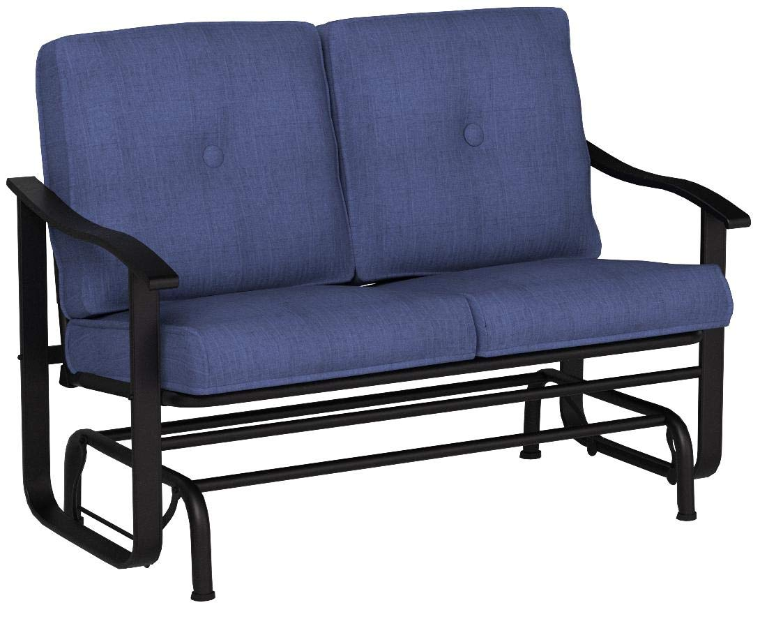 Outdoor Mainstays Belden Park Loveseat Glider with Cushion - Navy