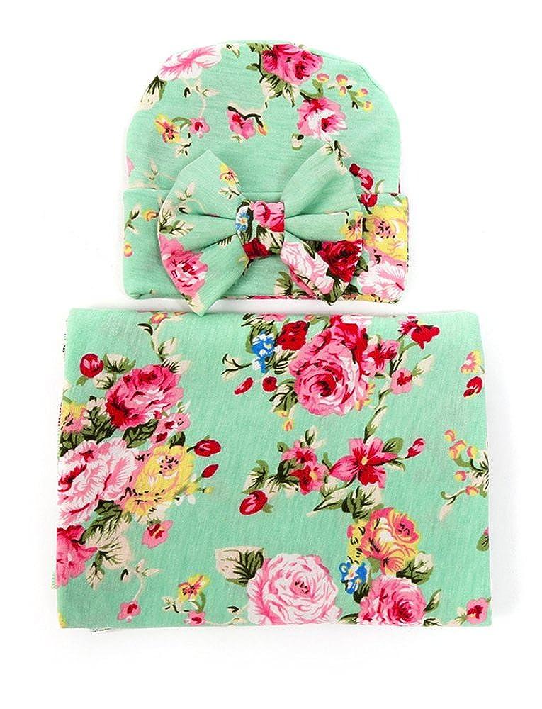 Gellwhu Baby Blankets,Newborn Baby Sleep Swaddle Blanket,Newborn Baby Beanie Hat,Pack of 3 Sets GH0154