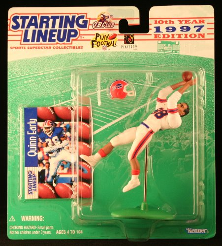 QUINN EARLY / BUFFALO BILLS 1997 NFL Starting Lineup Action Figure & Exclusive NFL Collector Trading Card (Brown Iowa Football Hawkeyes)