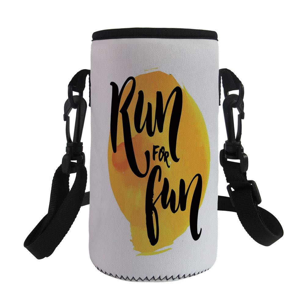 Small Water Bottle Sleeve Neoprene Bottle Cover,Inspirational,Run For Fun Calligraphy Yellow Brushstrokes Backdrop Lifestyle Image,Black White Yellow,Great for Stainless Steel and Plastic/Glass Bottle