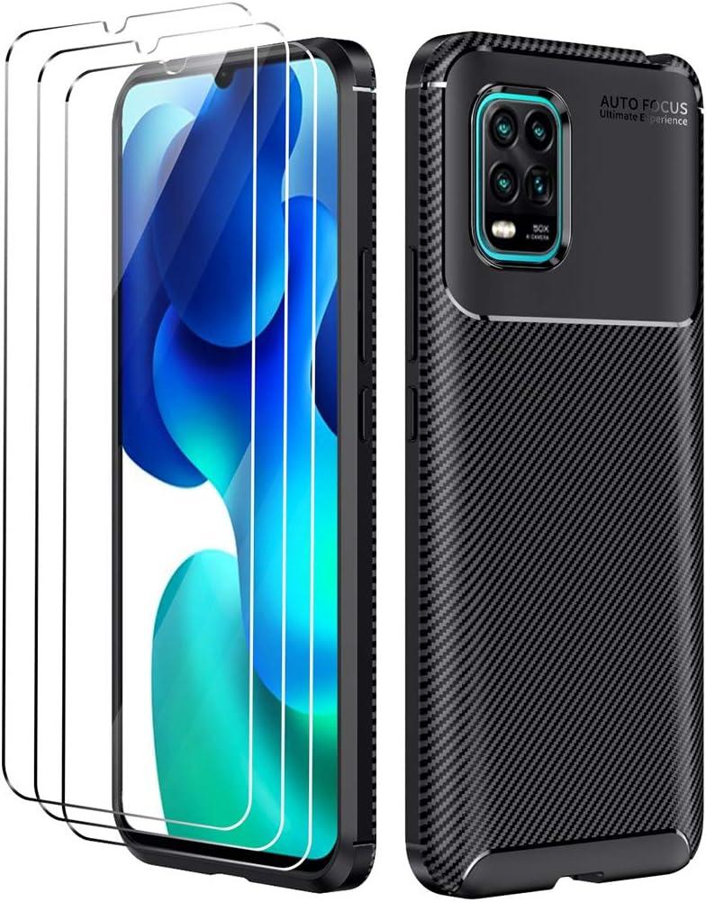 Oududianzi Funda Xiaomi Mi 10 Lite 5G + [3X Protectore de Pantalla in Cristal Templado], [Textura de Fibra de Carbono] Carcasa de Armadura Resistente Funda de Silicona Suave y Delgada - Negro