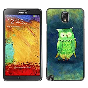 FECELL CITY // Duro Aluminio Pegatina PC Caso decorativo Funda Carcasa de Protección para Samsung Note 3 N9000 N9002 N9005 // Green Blue Teacher Bird Drawing