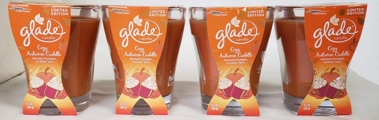 4 Glade 9.2 Oz Limited Edition COZY AUTUMN CUDDLE Large Wick Wax Candles PUMPKIN by Glade