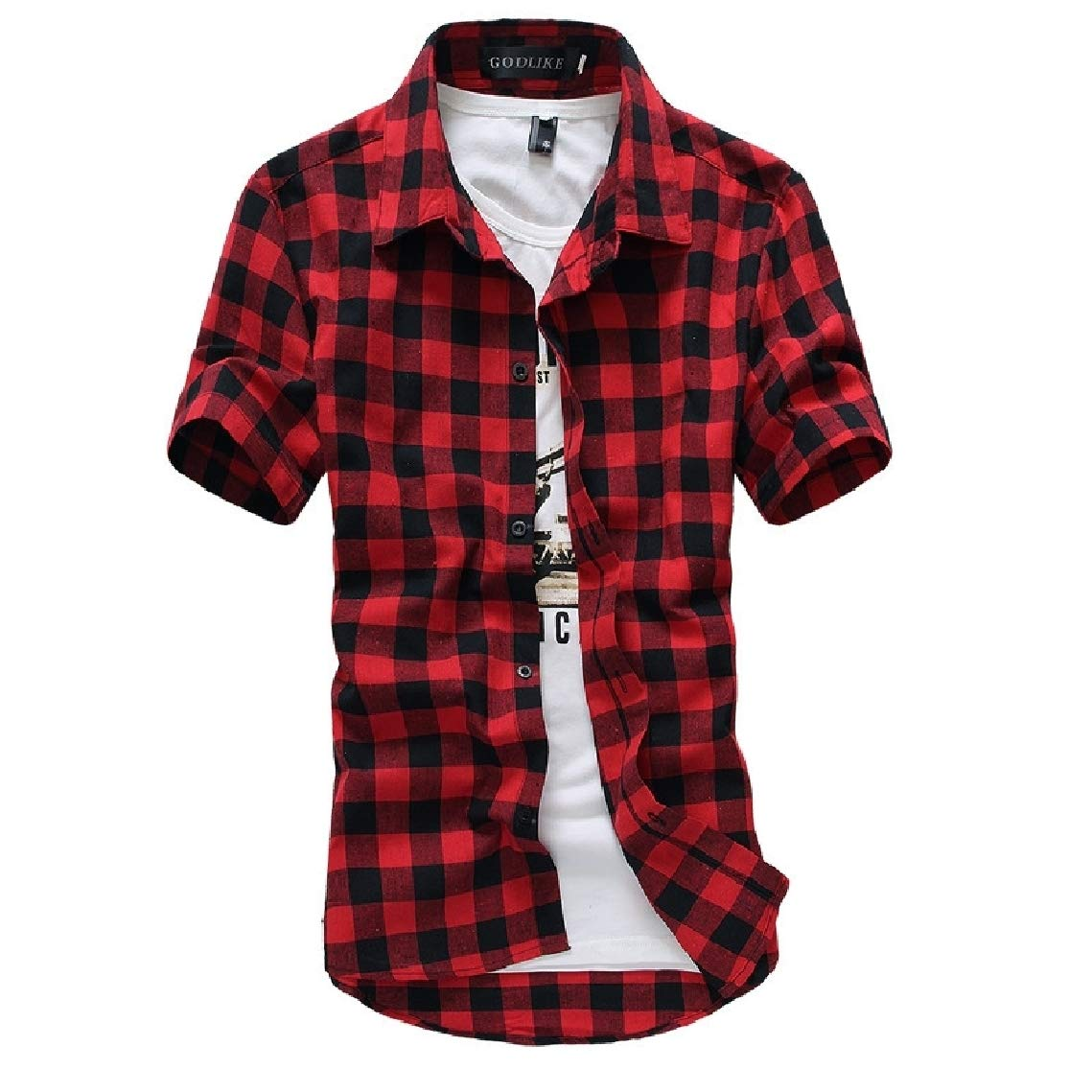Freely Mens Luxury Short-Sleeve Slim Fit Plaid Casual Business Shirts