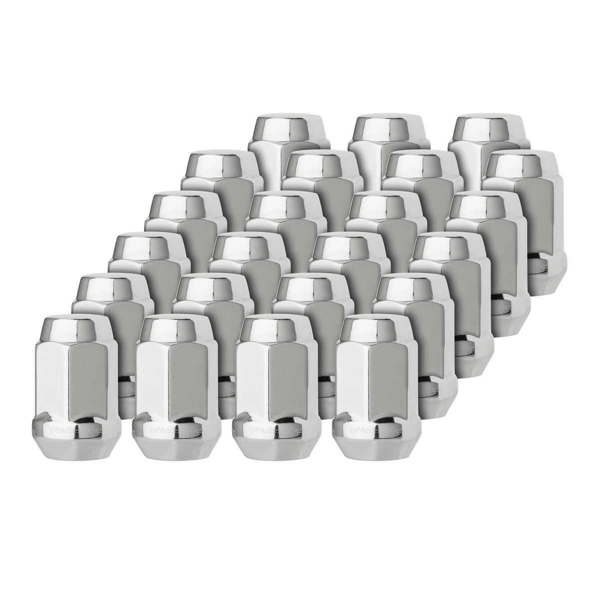 DPAccessories LCB3B2HC-CH04023 23 Chrome 1/2-20 Closed End Bulge Acorn Lug Nuts - Cone Seat - 3/4'' Hex Wheel Lug Nut