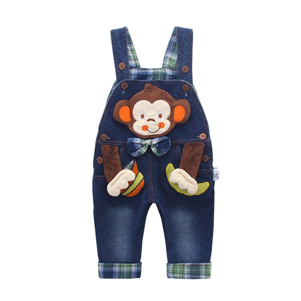 Kidscool Baby and Little Boys/Girls Cotton 3D Cartoon Monkey Denim Overalls Blue 3 - 4 Years