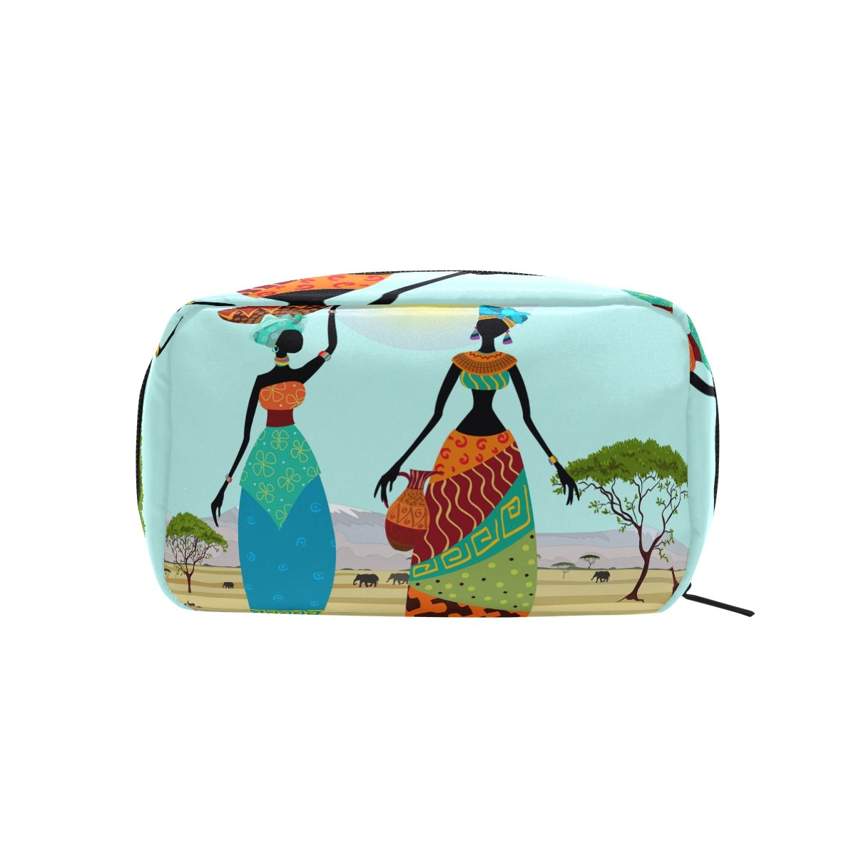 African Art Tribal Print Makeup Bag Multi Compartment Pouch Storage Cosmetic Bags